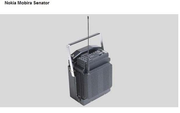 В 1982 году мобильный телефон Nokia Mobira Senator  весил около 10 кг