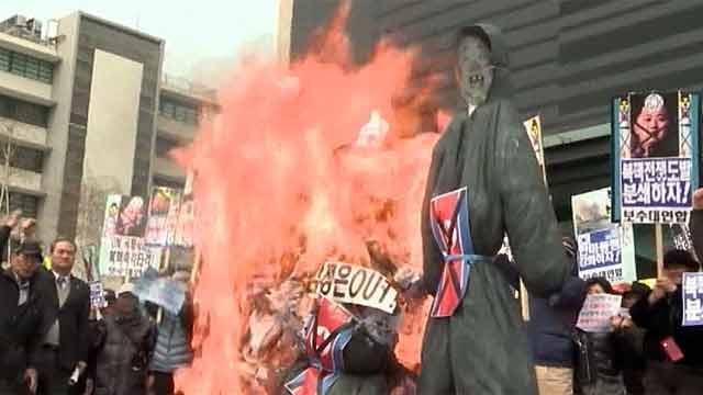 На акциях протеста в Сеуле сожгли чучела лидеров КНДР