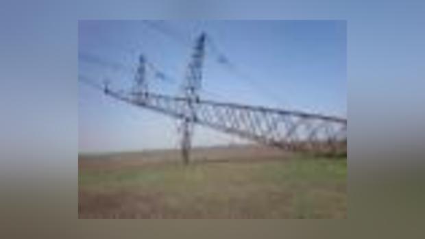 Нарушение опоры линии электропередач на отрезке Каховка-Джанкой