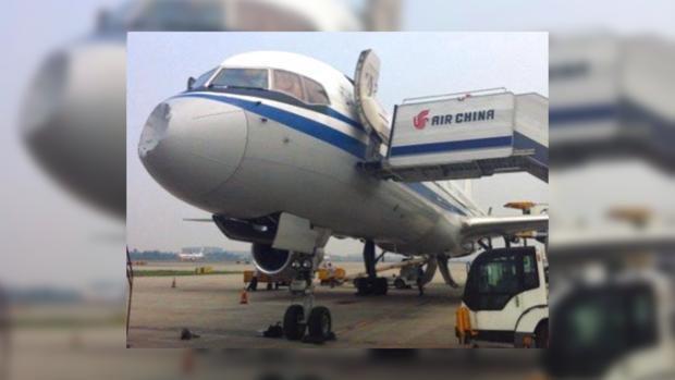 Любопытные пассажиры сразу же бросились фотографировать поврежденный самолет.