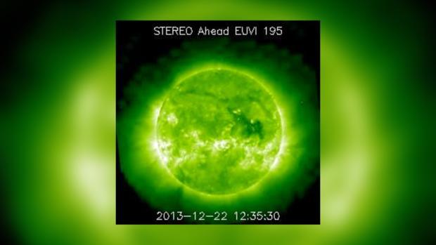Снимок Солнца за 22 декабря 2013 года не предвещает проблем на сегодня