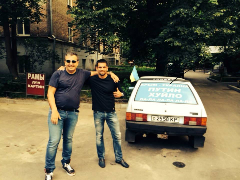 "Михаил Саакашвили присоединился к флешмобу под лозунгом ""Путин - ху*ло""."