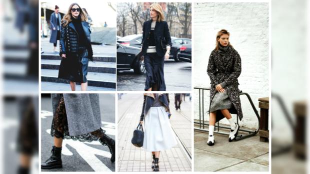 Юбка и ботинки мода