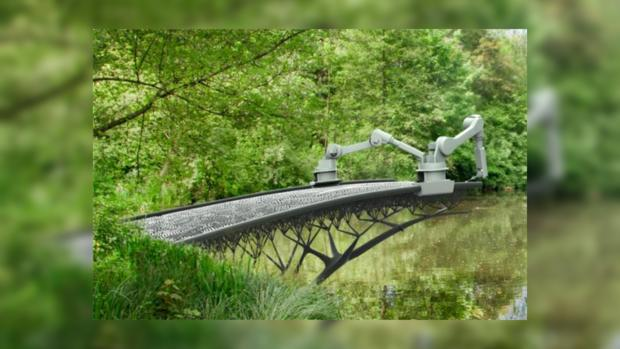 В Амстердаме MX3D-робот напечатает мост прямо в воздухе