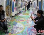 Вагон тематического поезда в Китае, посвящённого истории *Великого Шёлкового пути*.