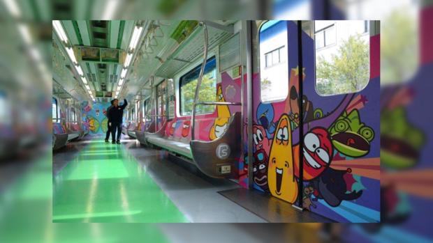Вагон тематического поезда в Сеуле.