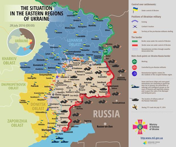 Силы АТО отбили атаку диверсантов вМарьинке
