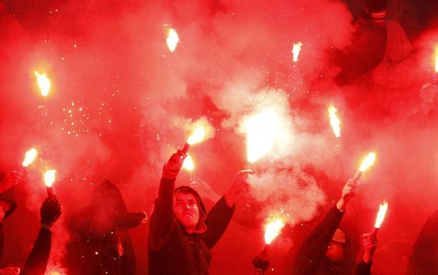 Матч «Спартак»— ЦСКА был остановлен из-за файеров