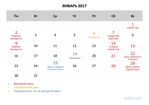 Выходные дни наНовый год: сколько украинцы будут отдыхать