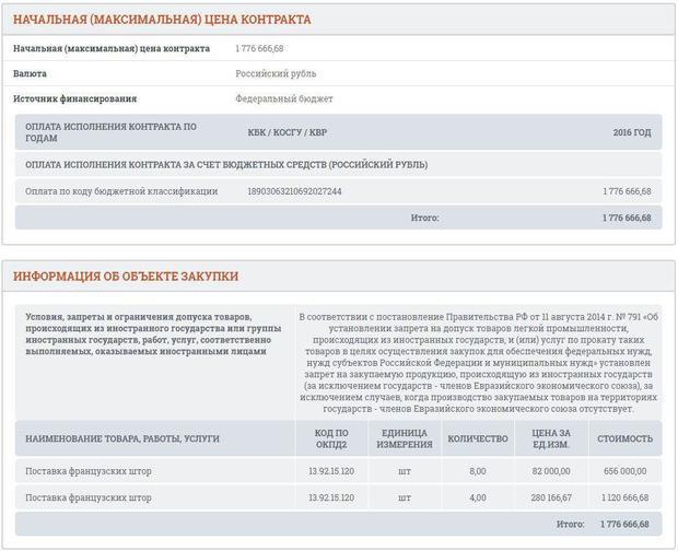 Столичное управление ФСБ решило закупить французские шторы на1,8 млн руб.