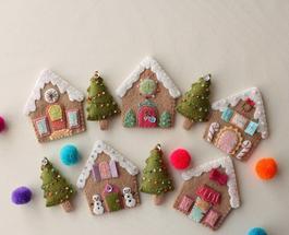 Игрушки на елку своими руками: пряничные домики из фетра