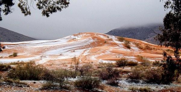 Впустыне Сахара выпал снег