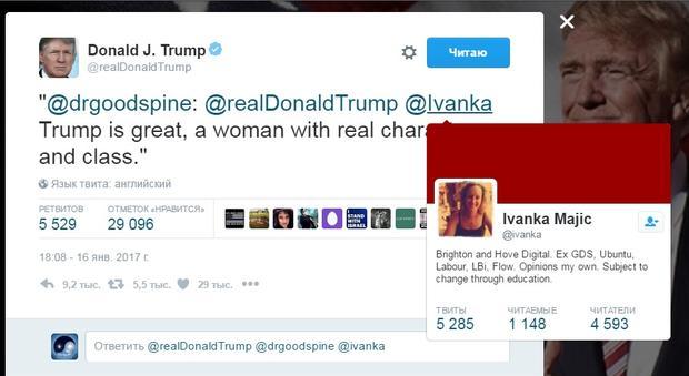 Трамп в социальная сеть Twitter перепутал дочь сдругой Иванкой