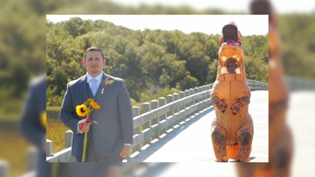 ВСША невеста пришла насвадьбу вкостюме тираннозавра