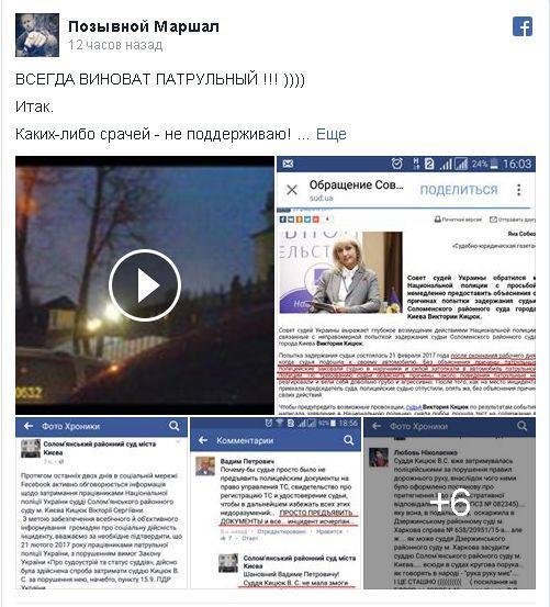 Патрульным украинской столицы грозит уголовное наказание зазадержание судьи-нарушительницы