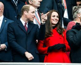 Кейт Миддлтон и принц Уильям во время визита в Париж посетили регбийный матч