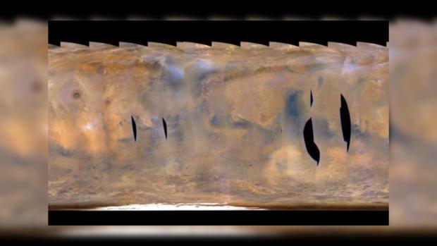 Ученые NASA зафиксировали наМарсе чудовищную бурю размером сСША