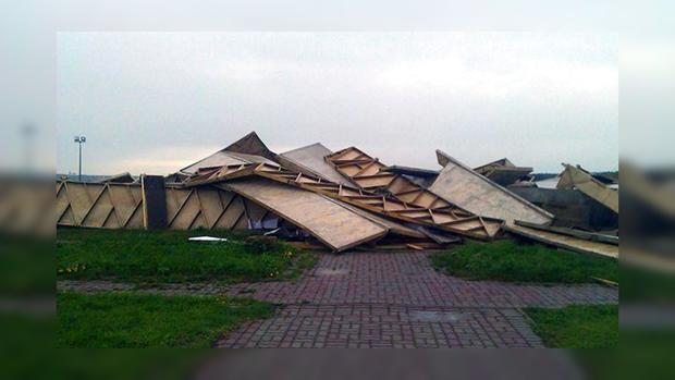 Пирамида Голода наНоворижском шоссе разрушена ураганом