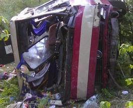 Под Тернополем упал с обрыва пассажирский автобус с туристами