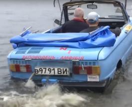 ТопЖыр: украинец создал Запорожец-амфибию и ездит на нем на рыбалку
