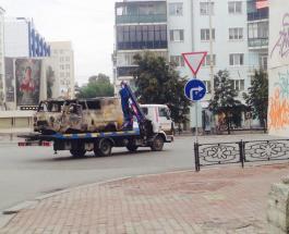 Обнародовано видео как УАЗик с газовыми баллонами протаранил кинотеатр