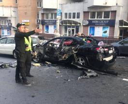 ЧП в Киеве: момент взрыва автомобиля попал на видео