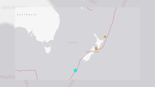 Землетрясение случилось уберегов свежей Зеландии— Геологическая служба США