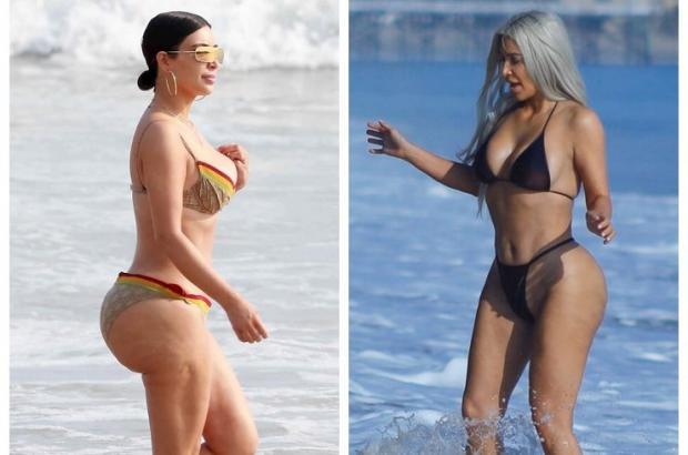 Папарацци запечатлели безупречную фигуру Ким Кардашьян на береге