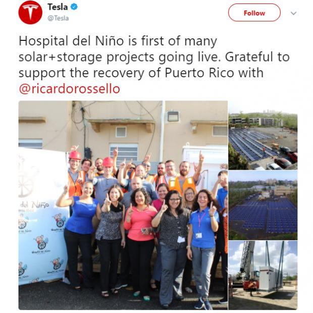 ВПуэрто-Рико Tesla бесплатно оборудовала солнечными батареями детскую поликлинику