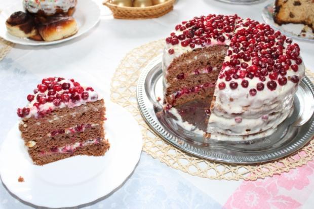 Самый вкусный праздничный торт с брусникой