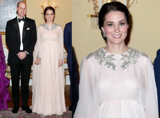 Кейт Миддлтон в шикарном платье от любимого дизайнера затмила принцесс на королевском ужине