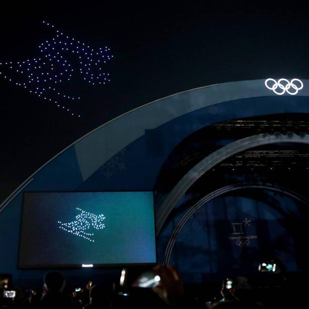 Олимпиада 2018: ночное небо осветили дроны устроив настоящее шоу