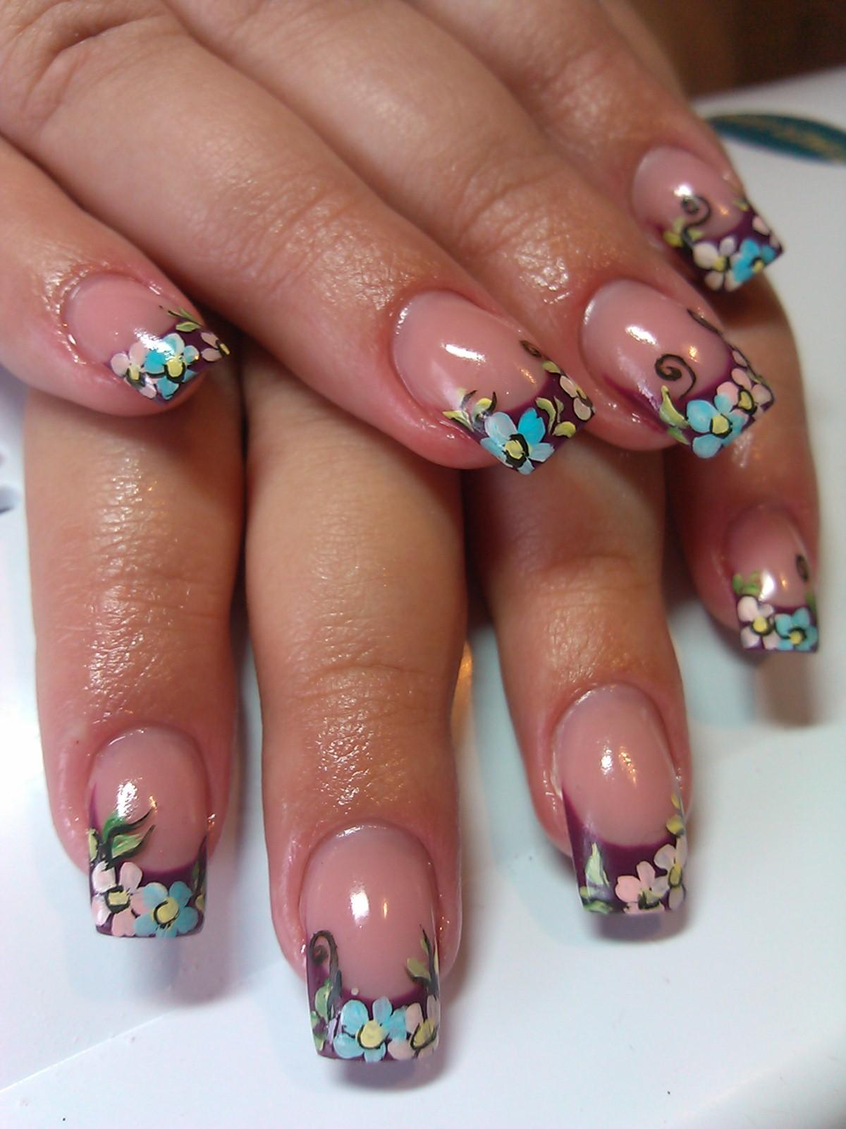 Фото ногтей френч и цветы