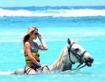 На Ямайке можно прокатиться на лошадях в прозрачной воде
