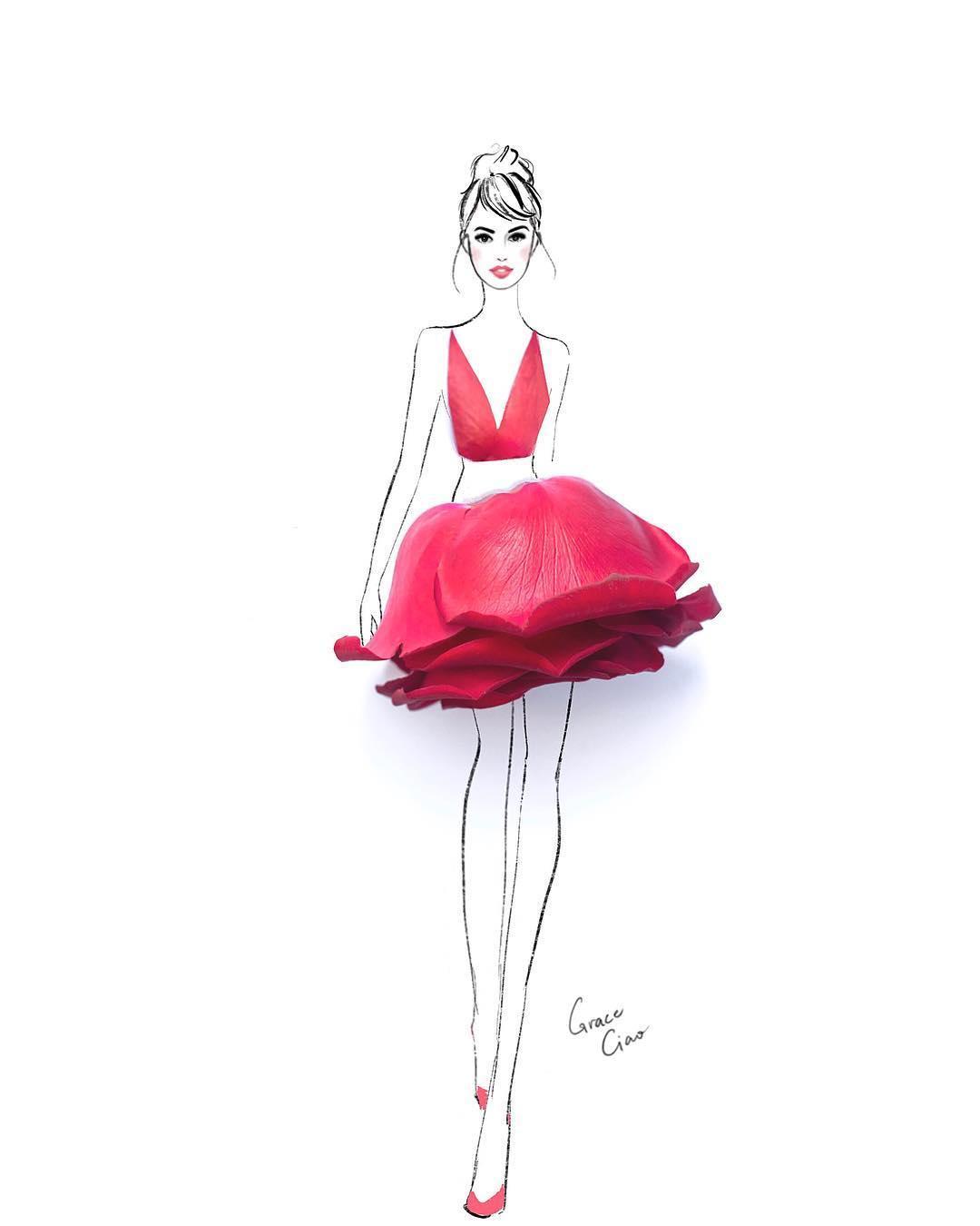 Модный иллюстратор из Сингапура создаёт шедевры сочетая рисунки с живыми  цветами 698de9ae944