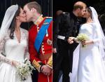 Поцелуй Кейт и Уильяма на балконе Букингемского дворца / Гарри и Меган на выходе из часовни