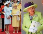 Королева в лимонно-желтом платье на свадьбе Кейт и светло-зеленом на свадьбе Меган