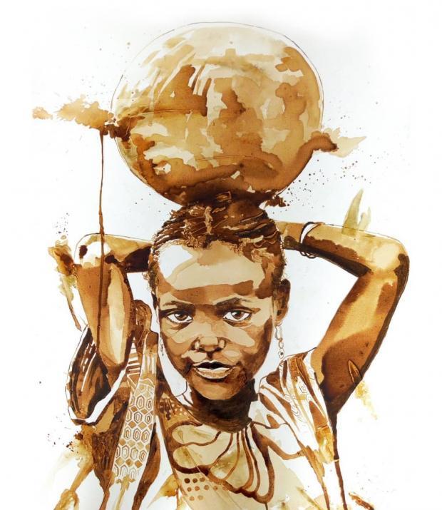 Удивительный талант: художник из Нигерии рисует картины с глубоким смыслом с помощью кофе