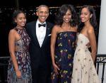 Мишель и Барак Обама с дочерями