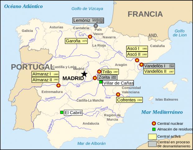 Карта АЭС Испании