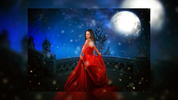 женщина красивая в красном