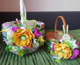 Как украсить пасхальную корзину: цветы и букеты из лент бумаги и пластиковых бутылок