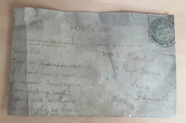 открытка написанная в 1907 году