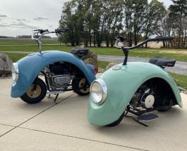 Занятное видео: дизайнер создал из старого «жука» Volkswagen два миниатюрных скутера