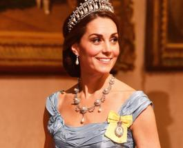 Кейт Миддлтон в изысканном вельветовом платье и любимой тиаре блистала на приеме в замке