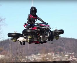 Мотоцикл который превращается в квадрокоптер и зависает в воздухе разработан во Франции