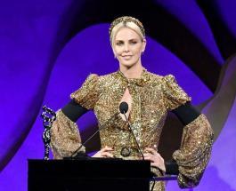 Шарлиз Терон в золотистом платье очаровала красотой коллег и журналистов