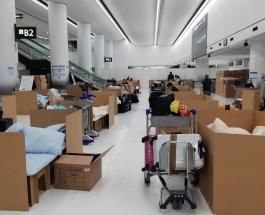Японский аэропорт Нарита установил картонные кровати для пассажиров