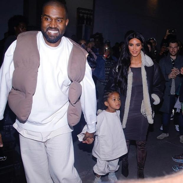 Канье с женой и дочерью