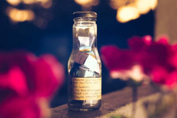 список желаний в стеклянной бутылке